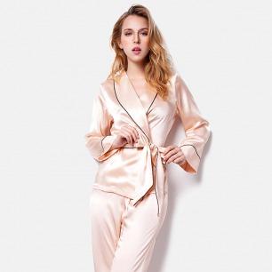 真丝长款睡衣两件套   复古时髦 优雅洒脱