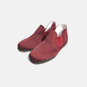 酒红色粘胶纤维半靴