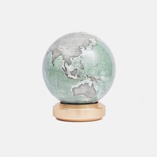 金属底座地球仪-英文版 | 极简造型 现代家居艺术性摆件-灰湖绿