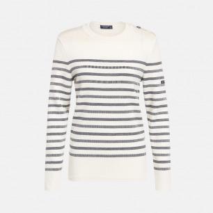 圆领半条纹白底深蓝条长袖100%羊毛衫-男女同款 | 条纹衫鼻祖 众多明星同款