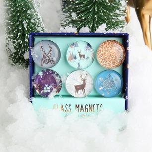 圣诞磁扣礼品套装   含六个不同图案花纹磁扣