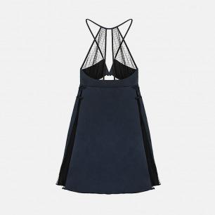 夜空蓝真丝拼接黑色褶皱网纱中式露肩深V短睡裙