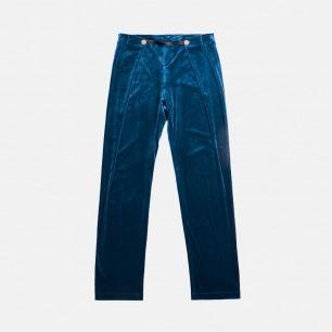 靓蓝色丝绒高腰复古褶边长睡裤