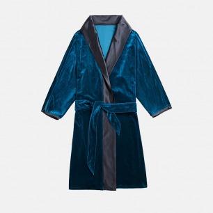 靓蓝丝绒拼沉静黑真丝色丁宽领复古睡袍