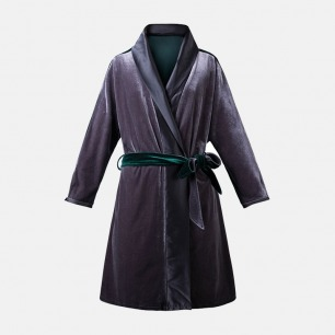 宝石绿丝绒拼烟墨灰复古绑带睡袍