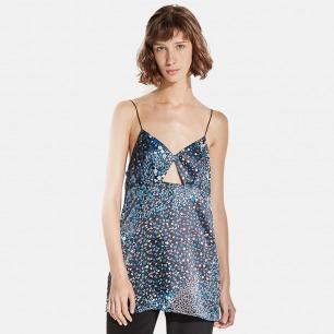 三角留空设计星空系列真丝睡裙