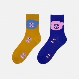 趣味系列抽象拼色情侣大眼袜 | 色彩明亮充满趣味 时尚百搭