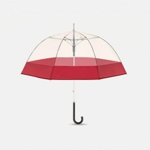 复古红直柄鸟笼伞【曼哈顿】 | 都市元素提炼 透明伞面尽享美式情调