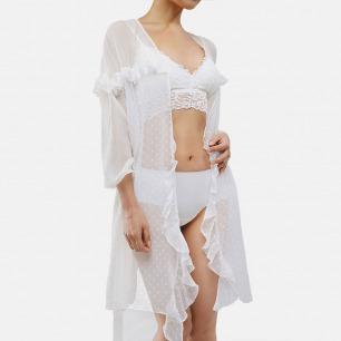 波点荷叶边雪纺睡袍 | 面料舒适通透 精致裁剪 尽显复古优雅