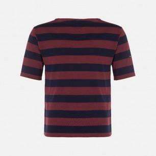 一字领全棉短袖 深红底蓝条纹 | 男女同款 质地轻薄 衣橱必备单品