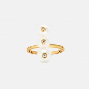 渐变贝珠戒指 | 镶有3枚贝珠 优雅别致