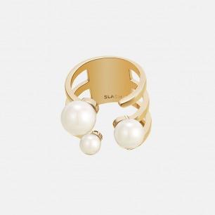 贝珠开口戒指 镶有3枚贝珠 | 半开口独特设计 造型优雅