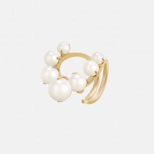 环状开口戒指  镶有7枚贝珠 | 环状半开口独特设计 造型优雅