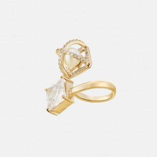 镶钻镂空贝珠开口戒指 | 时尚夺目 指间闪耀