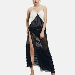 流苏吊带上衣 银灰拼黑真丝 | 造型感十足 演绎出宽松而时髦的风格