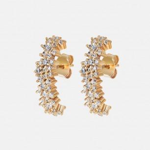 单排镶钻耳环 迪丽热巴同款 | 镀金嵌碎钻 闪耀迷人 精致优雅