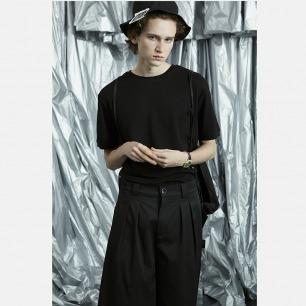 极简纯黑色珠地棉短袖T恤 | 独立设计师品牌 柔软吸汗