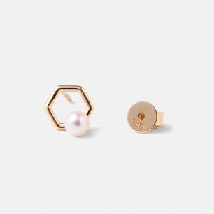 苯与珍珠耳钉 | 14k金日本AKOYA珍珠
