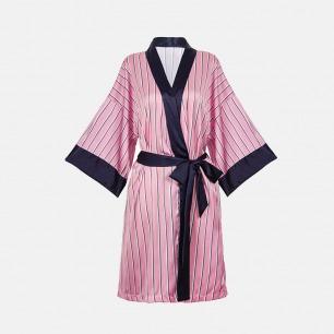 真丝触感粉条纹撞色睡袍 | 意大利奢华精致家居服