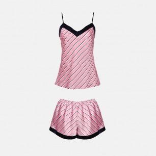 意式奢华撞色短吊睡衣套装 | 真丝质感 优雅精致