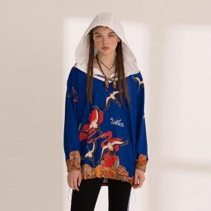 仙鹤连帽套头衫 原创设计 | 复古运动风 藏文印花
