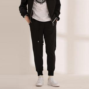 丝绒拼接针织长裤 | 纯黑款时尚简约 别致有型