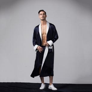 男士真丝撞色拼接长袍 | 意大利奢华精致家居服