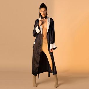 女士真丝撞色拼接长袍 | 意大利奢华精致家居服
