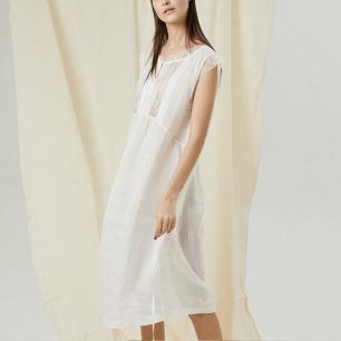 舒适白麻无袖中长款睡裙   意大利蕾丝 白麻材质裙身