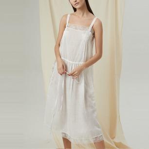 舒适白麻吊带蕾丝睡裙   意大利蕾丝 白麻材质裙身