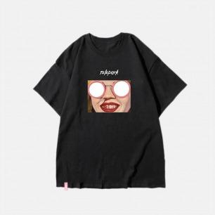 艺术家联名纯棉T恤 眼镜 | 搞怪印花 黑白两款可选