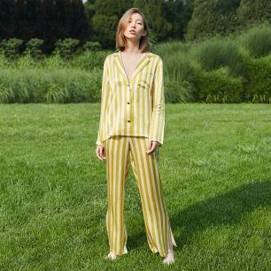 真丝衬衫睡衣套装 | 100%桑蚕丝 白黄条纹