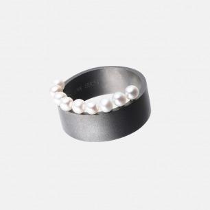 黑白系列 撞色多珍珠戒指 | 天然珍珠&个性黑色戒圈