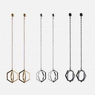 安全感系列银镀金短款耳线 | 淡雅香槟色 时尚立体造型