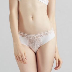 白色随心裁三角内裤   低腰蕾丝边 性感无痕