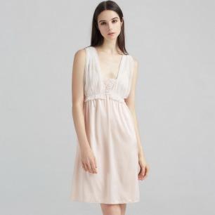 波点薄纱水色粉真丝睡裙   丝滑亲肤 沁凉透气