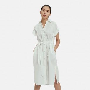 衬衫连衣裙 灰蓝/本白两色   质感轻盈 舒适透气又好看