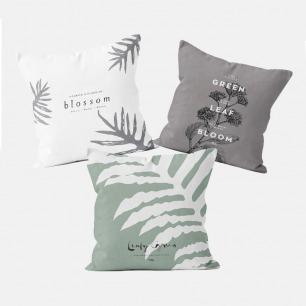 纯棉方形抱枕套 组合二 | 舒适质感 三款植物系图案