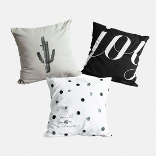 纯棉方形抱枕套 组合一 | 舒适质感 简洁经典配色