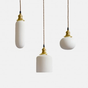 陶瓷雕刻褶纸灯笼吊灯 | 陶瓷褶纸雕刻,半透明透光