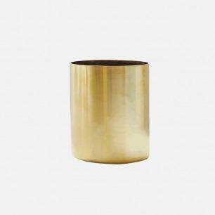 黄铜手制圆型笔筒/置物筒 | 复古拉丝质感 简约时尚