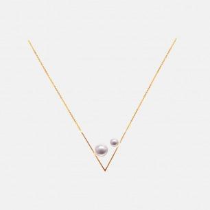 几何V形18K金珍珠项链 | 轻奢双珍珠的别致设计