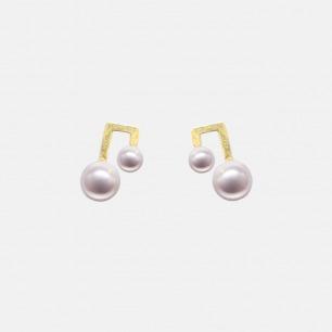 日本珍珠18K金音符耳钉 | 精致几何造型 含四枚珍珠
