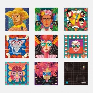波普艺术插画眼镜布 | 萨尔瓦多·达利、大卫·鲍伊、安迪·沃霍尔、草间弥生、蒂姆·波顿可选