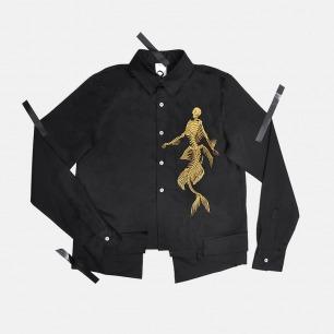 金色人鱼刺绣女士衬衫 | 独特下摆拼接 多层次设计