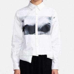 原创品牌设计女士结构衬衫   下摆拼接层次结构设计