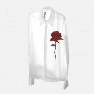 刺绣玫瑰苎麻半透女士衬衫   采用两种面料 前片刺绣玫瑰