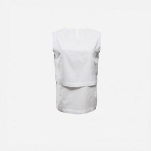 白色小立领无袖上衣