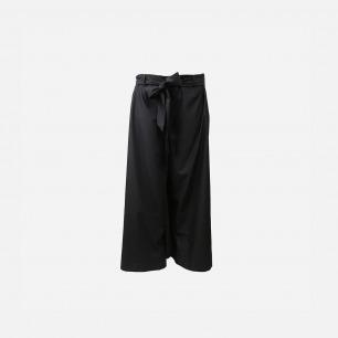 黑色大褶阔腿裤
