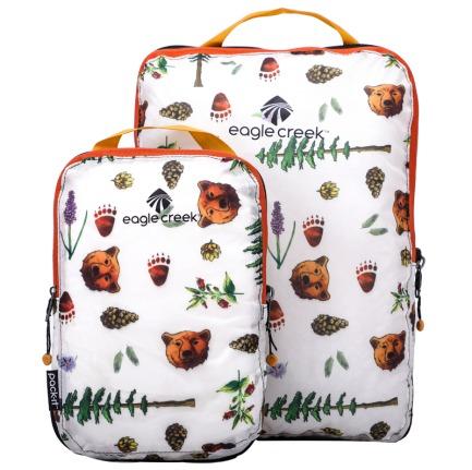 颜色/白色金州印花衣物压缩袋(2件套)